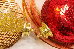 Red and yellow christmas baubles Stock Photo