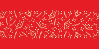 Red and yellow Christmas seamless floral border. vector illustration