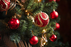 Red and yellow christmas tree decorations Stock Photos