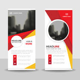Red yellow circle roll up business brochure flyer banner design , cover presentation abstract geometric background. Modern publication x-banner and flag-banner Royalty Free Stock Photos