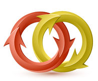 Red and yellow circular arrows Royalty Free Stock Photography