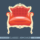 Red and yellow classic armchair over dark background Stock Images