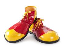 Red and yellow clown shoes Stock Photo