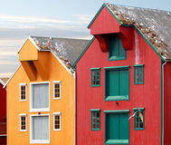 Red and yellow coastal wooden houses in Norway Stock Image