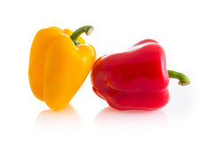 Red and yellow color of chili peppers isolated on white backgrou Royalty Free Stock Photography