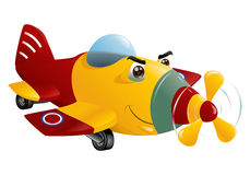 Red and yellow commercial plane flying Stock Photos