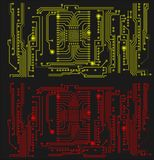 Red and yellow computer circuit on a black background Royalty Free Stock Photography