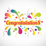 Red yellow Congratulations text and fireworks abstract vector Royalty Free Illustration