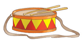 Red-yellow drum. On a white background Royalty Free Stock Photography