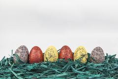Easter eggs on green grass. Red and yellow easter eggs on green grass Stock Photography