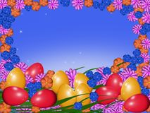 Easter eggs with flowers. Red and yellow easter eggs on an orange background with multicolored flowers Royalty Free Stock Photos