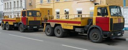 Red-yellow emergency truck Stock Photo