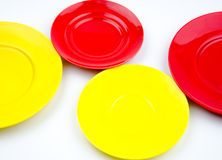 Red and yellow empty plate Stock Photos