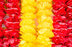 Red and yellow fabric flower stripe Royalty Free Stock Images