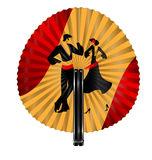 Red yellow fan with dancers Stock Photography