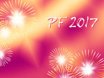 Red and yellow fireworks PF 2017. Red and yellow color PF 2017, good luck wishing card for New Year based on a blended fractal background with several warm color Royalty Free Stock Photography