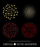 Red and yellow fireworks set on chess style transparent background. Vector illustration Stock Photography