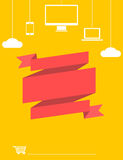 Red and yellow flat style electronics sale banner Royalty Free Stock Photo