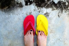 Red and Yellow Flip Flops. Selfie Woman Wearing Flip Flop Standing on Cement Background Royalty Free Stock Images