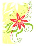 Red-yellow flower. The red stylized flower with leaves and curls on a white-green background Royalty Free Stock Photos