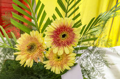 Red and yellow flowers bouquet Stock Image