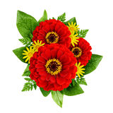 Red and yellow flowers bouquet Stock Photography