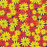 Red and yellow flowers seamless pattern Stock Image
