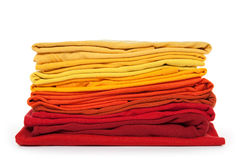 Red and yellow folded clothes Stock Image