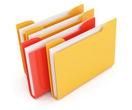 Red and yellow folder. On white background. 3d render Royalty Free Stock Photo