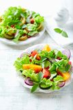 Red and yellow fresh tomato salad with with pomegranate seeds stock photos