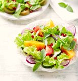Red and yellow fresh tomato salad with pomegranate seeds stock photos