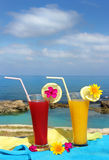 Red and yellow fruit cocktails Stock Image