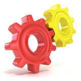 Red and yellow gear wheels Royalty Free Stock Photography