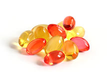 Red and yellow gel capsules Stock Photo