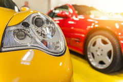 Red and yellow generic sport cars Royalty Free Stock Images