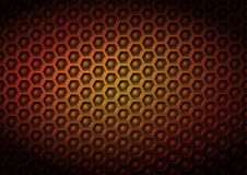 Red yellow geometrical industriral corporate vector pattern background made of embossed hexagon and ball elements in 3D effect wit. H vignette lighting Stock Photography