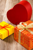 It is red yellow gift boxes Stock Images