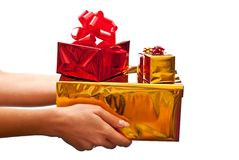 Red and yellow gifts boxes Stock Photo