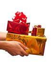 Red and yellow gifts boxes Royalty Free Stock Image
