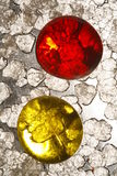 Red and Yellow Glass beads stock photos