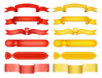 Red and yellow glossy ribbon vector banners set Stock Images