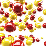 Red and yellow glossy spheres Stock Image