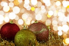 Red,yellow and gold Cristmas Baubles Stock Image
