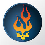 Red and yellow gradient flaming skull Stock Images