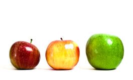 Red, yellow and green apples. On white background Stock Images