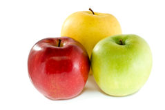 Red, yellow and green apples stock image
