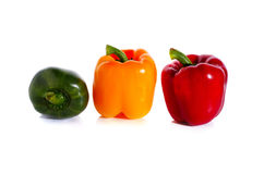 Red yellow green bell pepper isolated on white Stock Images