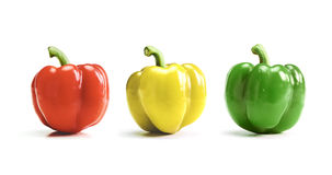 Red, yellow, green bell pepper, paprika isolated on white. Background Stock Images