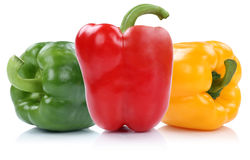 Red yellow green bell pepper peppers paprika paprikas vegetable Royalty Free Stock Photo