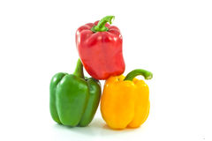 Red, yellow and green bell peppers Royalty Free Stock Photos